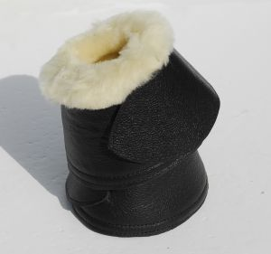 Rhinegold Elite Sheepskin Trimmed Leather Covered Neoprene Over Reach Boots